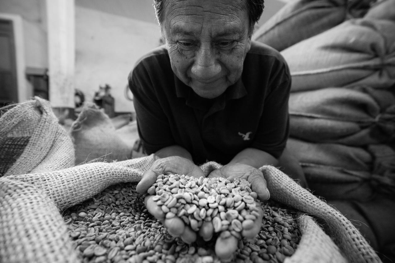 Un uomo tiene tra le mani il caffe di un sacco di iuta