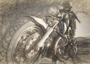Viaggiare in motoguzzi per il mondo , schizzo digitale